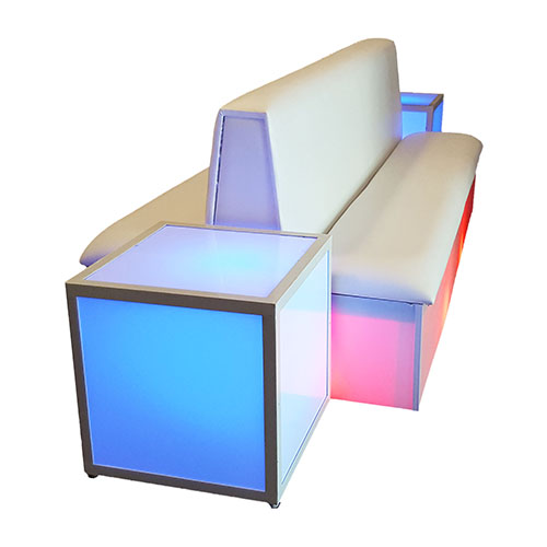 Double Sided Couch, White Model Platforms U0026 Uplighting