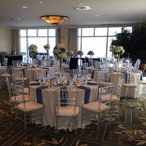 clear chiavari with white cushion