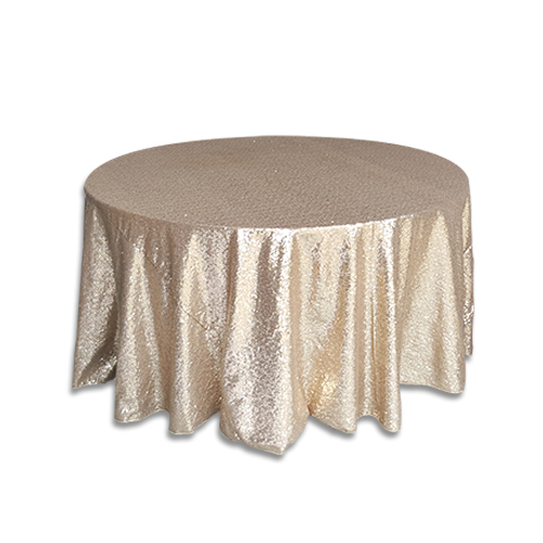 Linens 120 inch round glitz sequin champagne for 120 table cloth rental