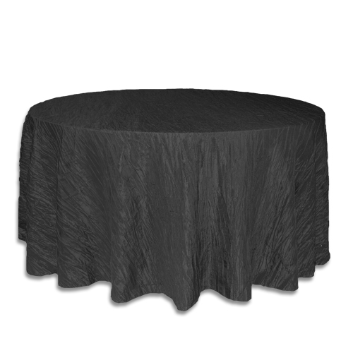 Linens 120 inch round crinkle taffeta black for 120 table cloth rental