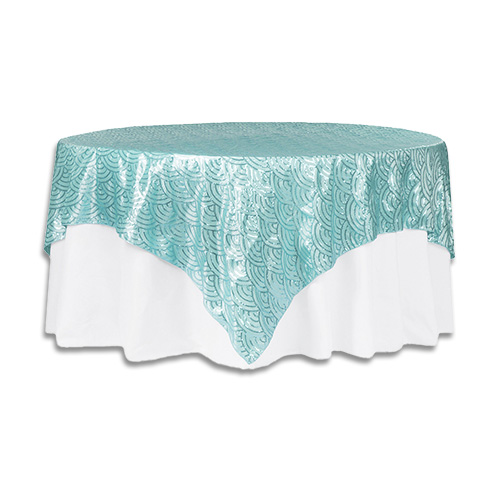 Linens 85 inch square mermaid scales turquoise for 85 inch table runner